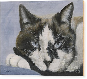 Calico Cat With Attitude Wood Print