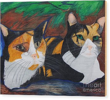 Calico Cats Wood Print