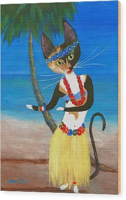 Calico Hula Queen Wood Print by Jamie Frier