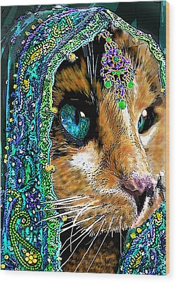 Calico Indian Bride Cats In Hats Wood Print by Michele Avanti