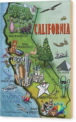 California Cartoon Map Wood Print by Kevin Middleton