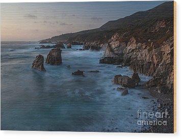California Coast Dusk Wood Print by Mike Reid