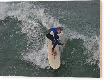 California Dreamin Surfer Wood Print by Diane Lent