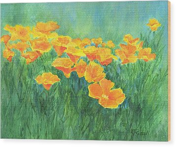 California Golden Poppies Field Bright Colorful Landscape Painting Flowers Floral K. Joann Russell Wood Print