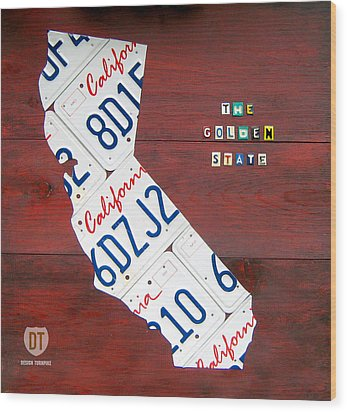 California License Plate Map Wood Print by Design Turnpike