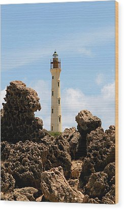California Lighthouse Aruba Wood Print