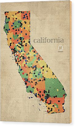 California Map Crystalized Counties On Worn Canvas By Design Turnpike Wood Print by Design Turnpike