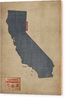 California Map Denim Jeans Style Wood Print by Michael Tompsett