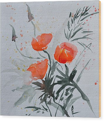 California Poppies Sumi-e Wood Print