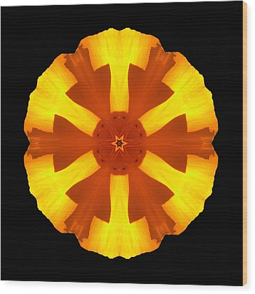 California Poppy Flower Mandala Wood Print