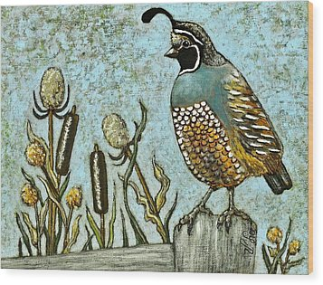 Wood Print featuring the painting California Quail by VLee Watson