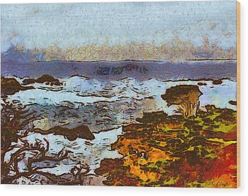 California Seascape Wood Print by Barbara Snyder