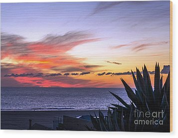 California Sunset Wood Print by Mike Ste Marie