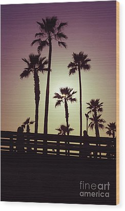 California Sunset Picture With Palm Trees Wood Print by Paul Velgos