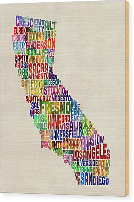 California Typography Text Map Wood Print by Michael Tompsett