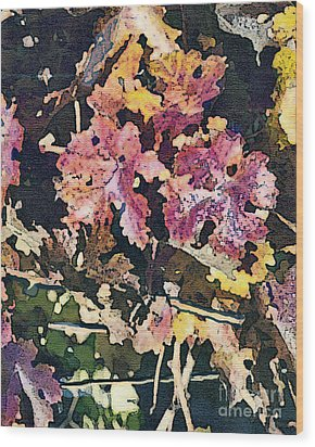 California Vineyard Series Fall Grape Leaves Wood Print by Artist and Photographer Laura Wrede