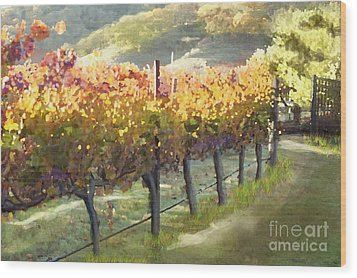 California Vineyard Series Morning In The Vineyard Wood Print by Artist and Photographer Laura Wrede