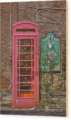 Call Me - Abandoned Phone Booth Wood Print by Kay Pickens