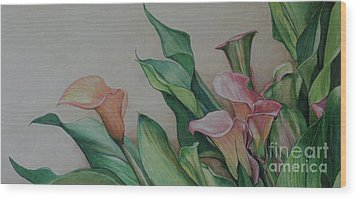 Calla Lilies Wood Print by Charlotte Yealey