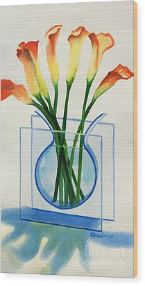 Wood Print featuring the painting Calla Lilies by Kathy Braud