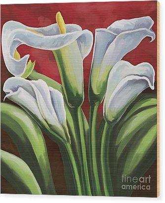 Wood Print featuring the painting Calla Lilies  by Tim Gilliland