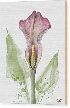 Wood Print featuring the painting Calla Lily 01 - Elena Yakubovich by Elena Yakubovich