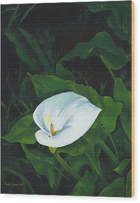 Calla Lily In The Garden Of Diego And Frida Wood Print by Judy Swerlick
