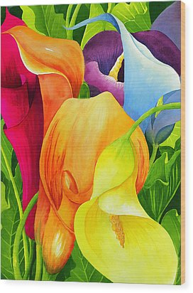 Calla Lily Rainbow Wood Print