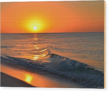 Calm And Clear Sunrise On Navarre Beach With Small Perfect Wave Wood Print by Jeff at JSJ Photography