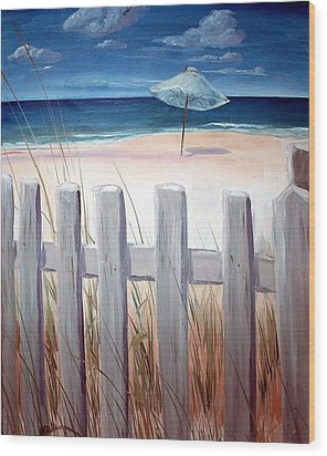Calm Day At The Seashore Wood Print by Bernadette Krupa