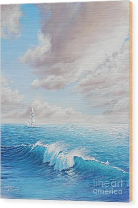 Calming Ocean Wood Print by Joe Mandrick