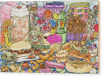 Calorie Gremlins Wood Print