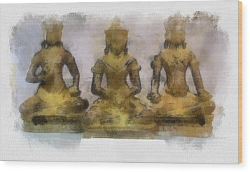 Cambodia Antique Temple Wood Print by Teara Na