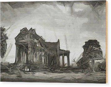 Cambodia Temple Wood Print by Teara Na