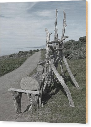 Cambria Driftwood Bench 2 Wood Print