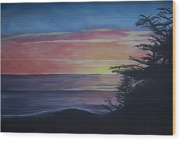 Cambria Setting Sun Wood Print by Ian Donley