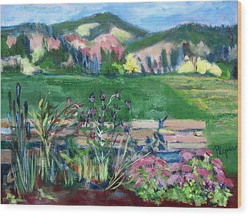 Wood Print featuring the painting Cambridge Countryside by Betty Pieper