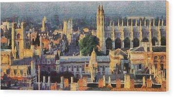 Cambridge Panorama Wood Print by Georgi Dimitrov