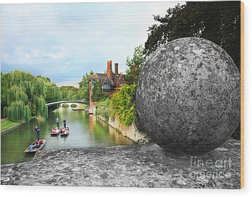 Punting In Cambridge Wood Print