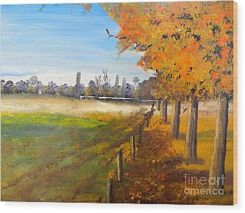 Wood Print featuring the painting Camden Farm by Pamela  Meredith