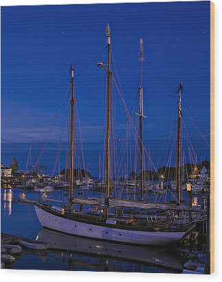 Camden Harbor Maine At 4am Wood Print