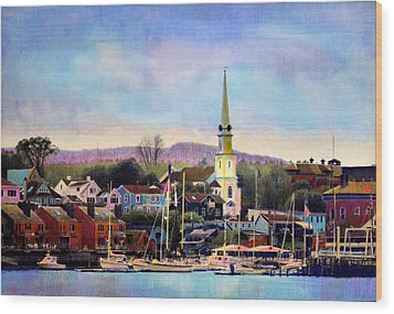 Camden Maine Harbor Wood Print by Cindy McIntyre