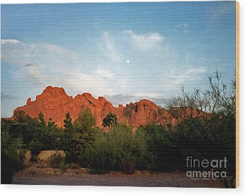 Camelback Mountain And Moon Wood Print