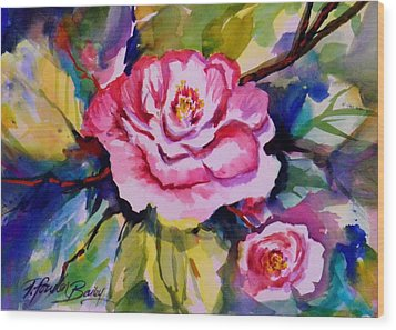Camellia Prisms Original Sold Prints Available Wood Print by Therese Fowler-Bailey