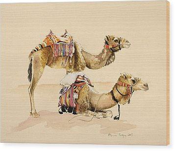 Camels From Petra Wood Print by Alison Cooper