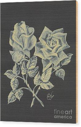 Wood Print featuring the painting Cameo Rose by Carol Wisniewski