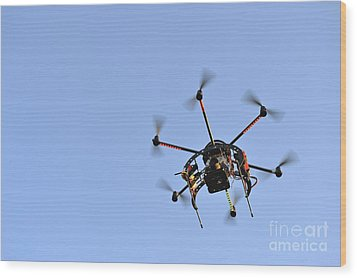 Camera On Unmanned Aerial Vehicle Wood Print by Sami Sarkis