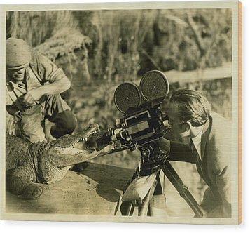 Cameraman With Alligator Wood Print by Vintage