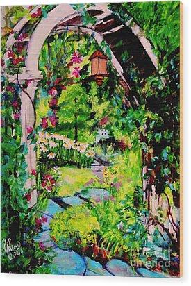 Camille's Secret Cottage Garden  Wood Print by Helena Bebirian