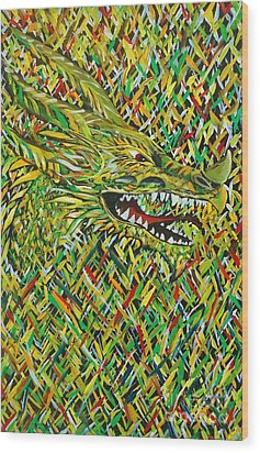 Camo Dragon Wood Print by Michael Henzel